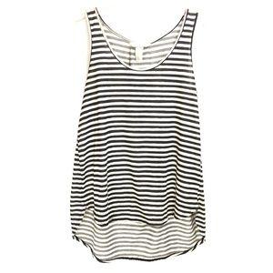 H&M Black & Ivory Stripe High Low Tank Top Size M